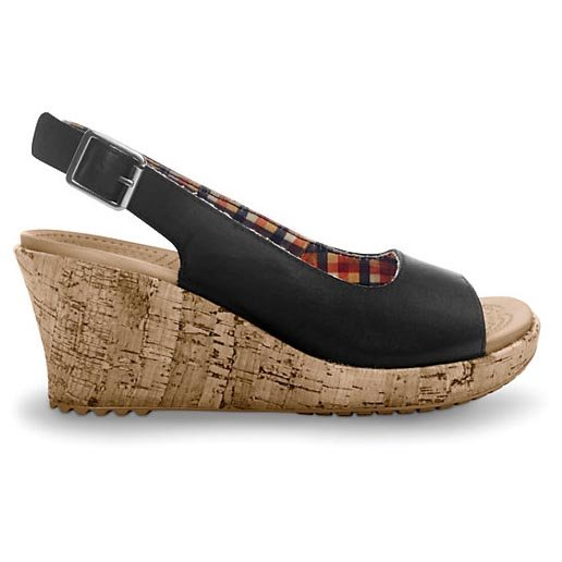 Sandale damă casual Piele Crocs A Leigh Wedge Leather negre -1