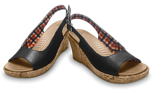 Sandale damă casual Piele Crocs A Leigh Wedge Leather negre -2