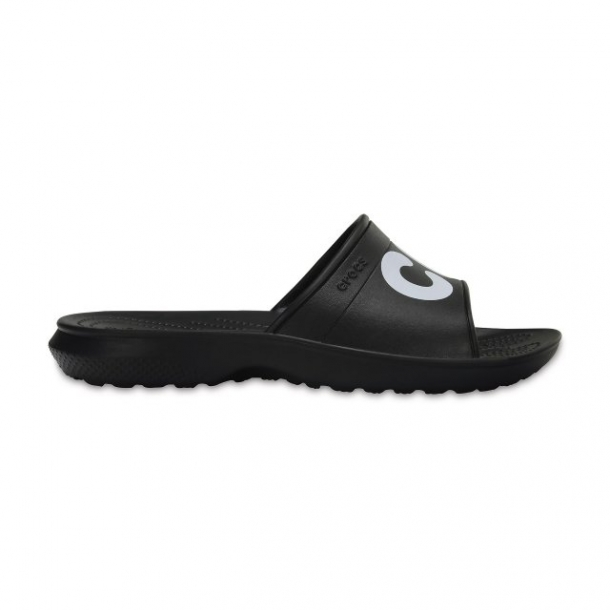 Papuci Adulti Unisex casual Crocs Classic Graphic Slide negri -1