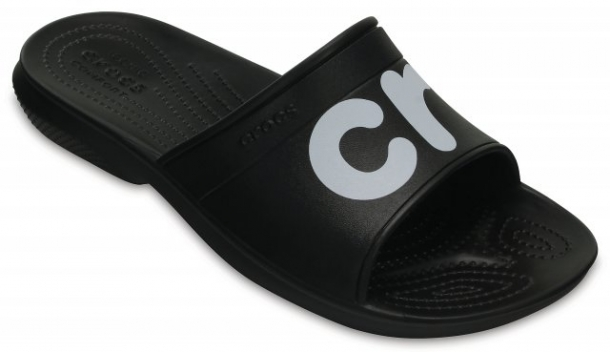 Papuci Adulti Unisex casual Crocs Classic Graphic Slide negri -2