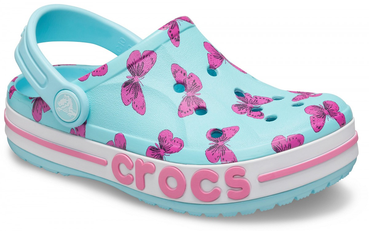 Saboți Copii casual Crocs Bayaband Seasonal Printed Clog K Albastri deschisi -2