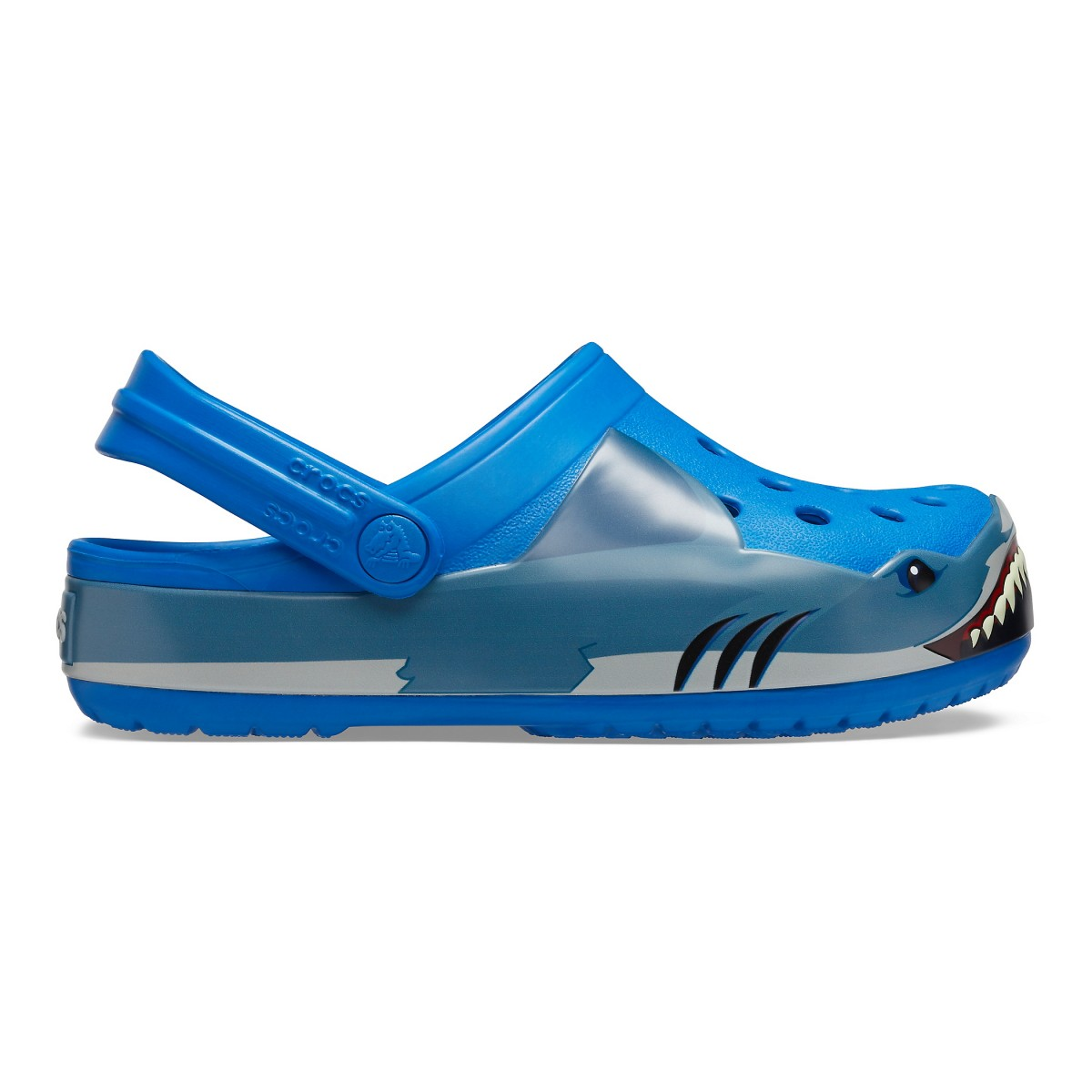 Saboți Băieți casual Crocs Crocs Fun Lab Shark Band Clog Albastri -1