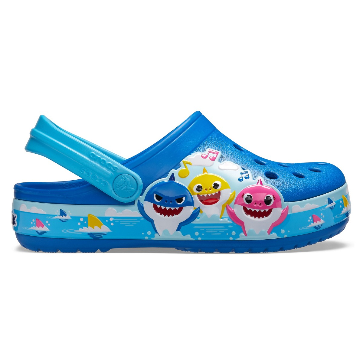 Saboți Copii Plajă Crocs Crocs Fun Lab Baby Shark Band Clog Albastri -1